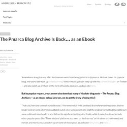 The Pmarca Blog Archive Is Back… as an Ebook