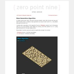 zero point nine » Blog Archive » Maze Generation Algorithm