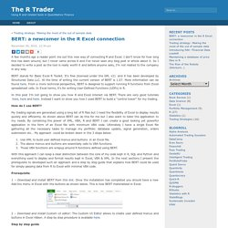 The R Trader » Blog Archive » BERT: a newcomer in the R Excel connection
