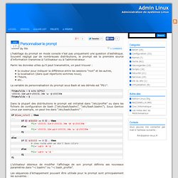 Admin Linux » Blog Archive » Personnaliser le prompt