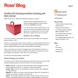 Ross's Blog » Blog Archive » Toolbox for learning machine learning and data science