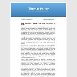 Thomas Palley » Blog Archive » Jack Welch's Barge: The New Economics of Trade