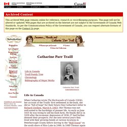 ARCHIVED - Catharine Parr Traill - Biographies - Susanna Moodie and Catharine Parr Traill
