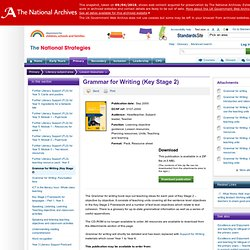 Grammar for Writing (Key Stage 2)