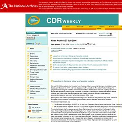 CDR Weekly Vol 16 No 30 (28 July 2006) Lassa fever in Germany: follow up of possible contacts