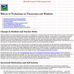Effects of Technology on Classrooms and Students