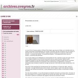 LIVRE D'OR Archives départementales de l'Aveyron - Archives départementales de l'Aveyron