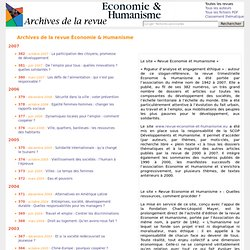 Archives de la revue Économie & Humanisme