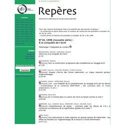 Repères - Archives : Fascicule N°18, 1998 (nouvelle série) À la conquête de l'écrit