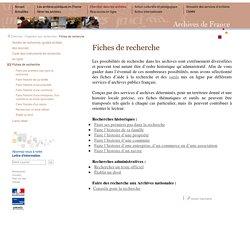 fiches d'aides à la recherche et outils mis en ligne par des archives publiques