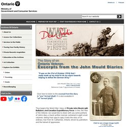 Archives of Ontario - Story of an Ontario Veteran - Excerpts from the John Mould Diaries