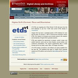 DLA's About ETDs@VT: from the Digital Library and Archives at Virginia Tech's University Libraries