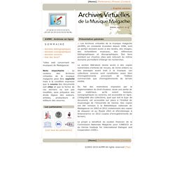 Archives virtuelles de la musique Malgache, Virtual Archive of Malagas (...)