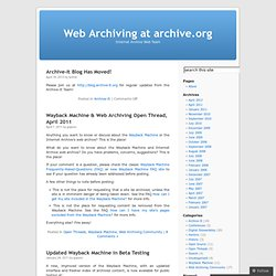 Web Archiving at archive.org