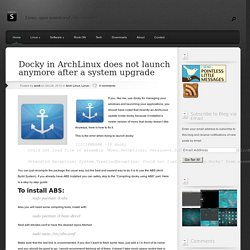 Docky in ArchLinux does not launch anymore after a system upgrade