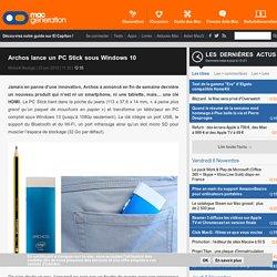 Archos lance un PC Stick sous Windows 10
