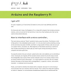 Arduino and the Raspberry Pi