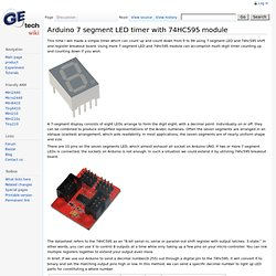 Arduino 7 segment LED timer with 74HC595 module - Geeetech Wiki