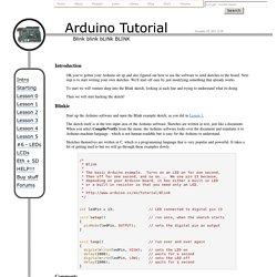 Arduino Tutorial - Lesson 2 - Modifying the first sketch