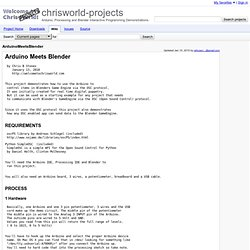 ArduinoMeetsBlender - chrisworld-projects - Arduino, Processing and Blender Interactive Programming Demonstrations.
