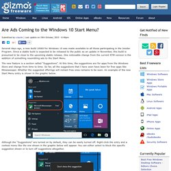 Are Ads Coming to the Windows 10 Start Menu?