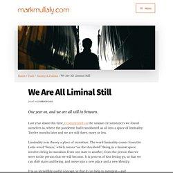 We Are All Liminal Still