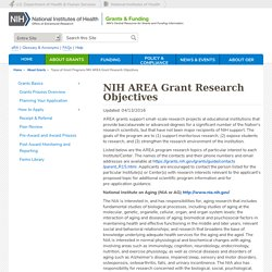 NIH AREA Grant Research Objectives