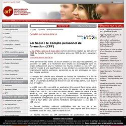 Loi Sapin : le Compte personnel de formation (CPF)