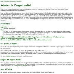 Achat et vente argent-métal (lingots, pièces Semeuse, Hercule ou Turin)