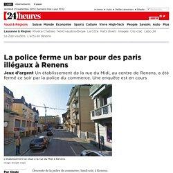 Jeux d'argent: La police ferme un bar pour des paris illégaux à Renens