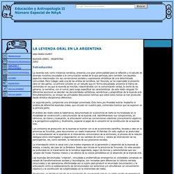 La Leyenda Oral en la Argentina - General - Educación y Antropología II