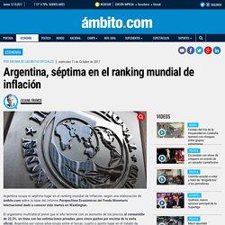 Argentina, séptima en el ranking mundial de inflación