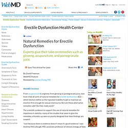 "Arginine, Yohimbe, and Other Erectile Dysfunction Natural ""Cures"""