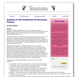 Arginine in the Treatment of Cancerous Tumors