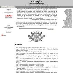 Argoji : Argot français classique