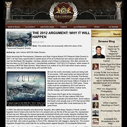 The 2012 Argument: Why It Will Happen @ Paranormal Research Society