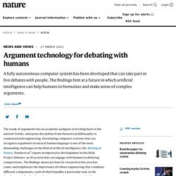 Argument technology for debating with humans