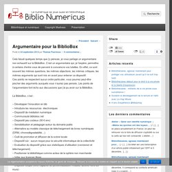 Argumentaire pour la BiblioBox