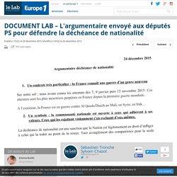 DOCUMENT LAB – L'argumentaire envoyé aux députés PS pour défendre la déchéance de nationalité