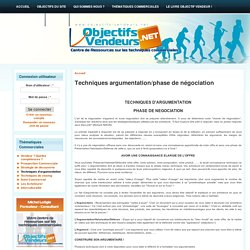 Techniques argumentation/phase de négociation