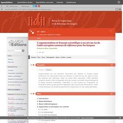 L'argumentation en français scientifique à un niveauA2 du Cadre européen commun de référence pour les langues