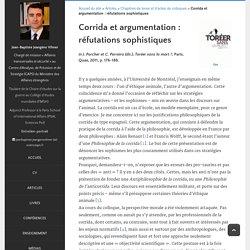 Jean-Baptiste Jeangène Vilmer - Corrida et argumentation: réfutations sophistiques