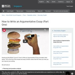 How to Write an Argumentative Essay (Part One)