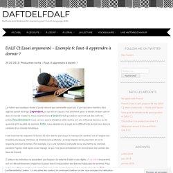 DALF C1 Essai argumenté – Exemple 6: Faut-il apprendre à dormir ?