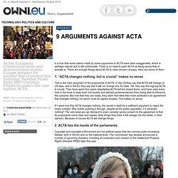 9 Arguments Against ACTA