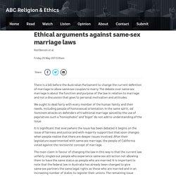 Ethical arguments against same-sex marriage laws - ABC Religion & Ethics