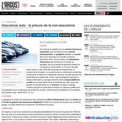 L'Argus de l'Assurance - Assurance auto : la preuve de la non-assurance - Assurance, assurance en ligne