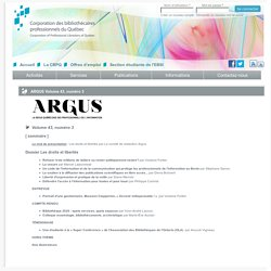 ARGUS Volume 43, numéro 3