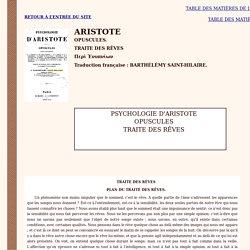 Aristote,Opuscules T RAITE DES RÊVES (+ notes + texte grec)