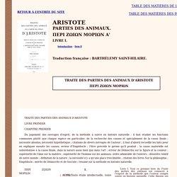 Aristote : Parties des animaux (livre I - bilingue)